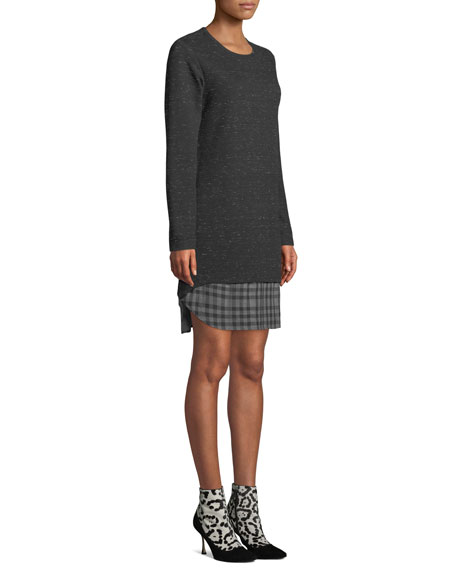 Finley Plus Size Madison Long-Sleeve Checkered-Layer Dress
