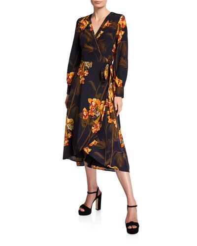 Stela Caramel Printed Long-Sleeve Midi Wrap Dress