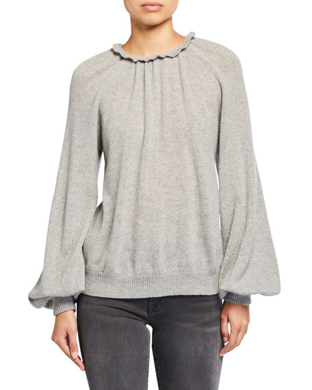FRAME Sustainable Femme Tissue Poet-Sleeve Sweatshirt