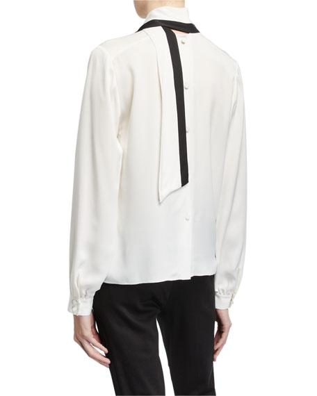 FRAME Button-Back Silk Scarf Blouse