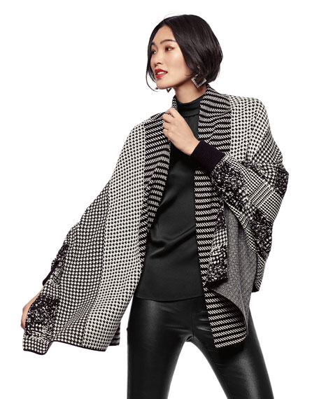 Misook Plus Size Mix Pattern Blend Knit Cardi Jacket