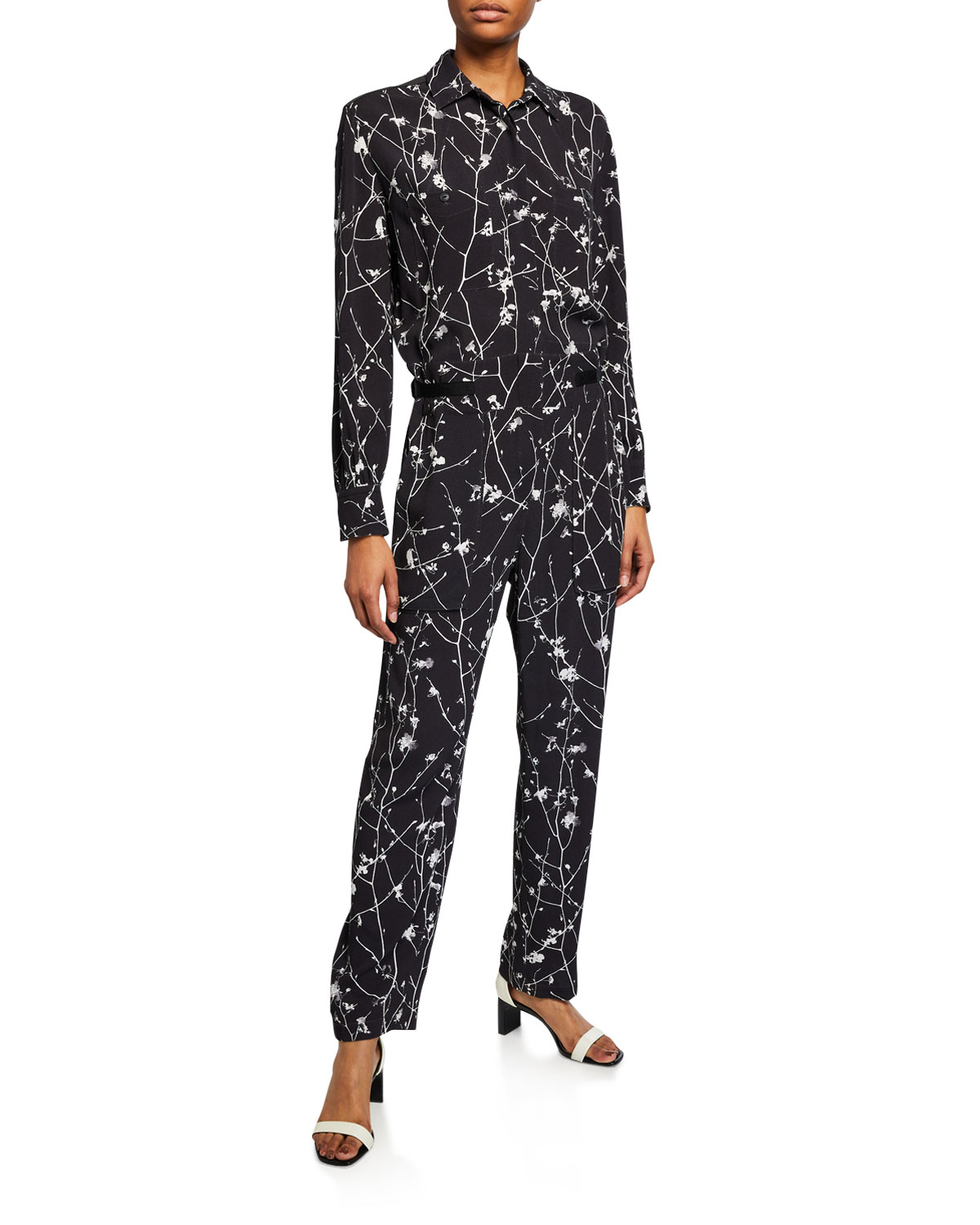 Rag & Bone Therese Printed Long-Sleeve Jumpsuit