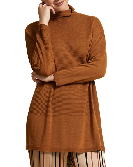 Marina Rinaldi Plus Size Roll-Neck Drop-Shoulder Long-Sleeve Wool Sweater