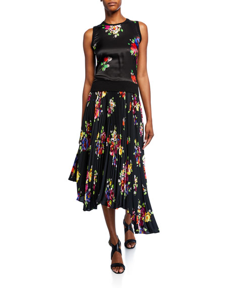 kate spade new york rare roses pleated asymmetric midi skirt