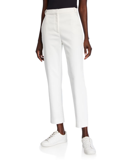 St. John Collection Stretch Wash Canvas Tapered Ankle Pants with Pockets