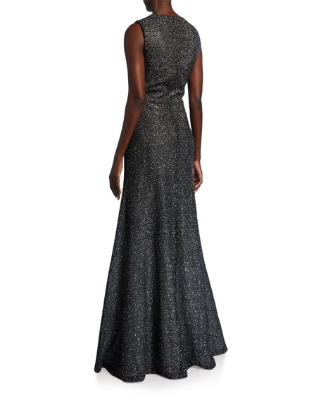Image 3 of 3: St. John Collection Sleeveless Bejeweled Silver Netting Gown with Sequins