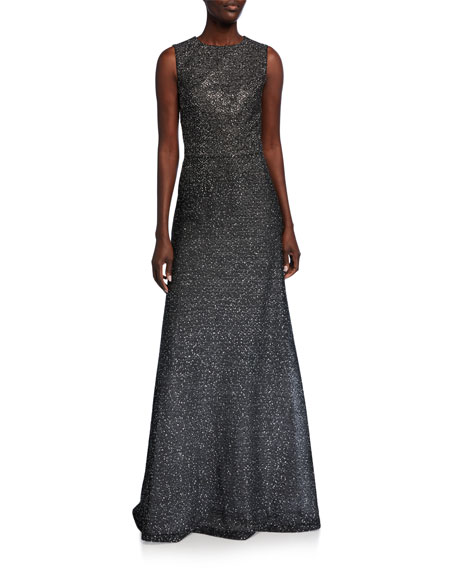 Image 1 of 3: St. John Collection Sleeveless Bejeweled Silver Netting Gown with Sequins