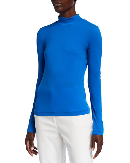 Image 1 of 3: Nuda Jersey Mock-Neck Long-Sleeve Top