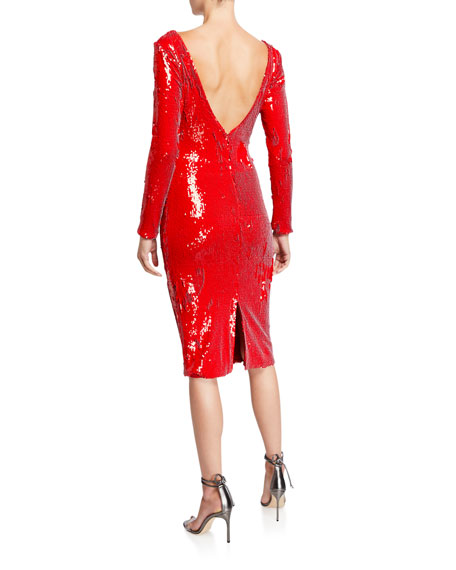 Image 2 of 3: Dress The Population Emery Sequin Long-Sleeve Sheath Dress