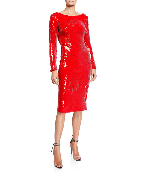 Image 1 of 3: Dress The Population Emery Sequin Long-Sleeve Sheath Dress