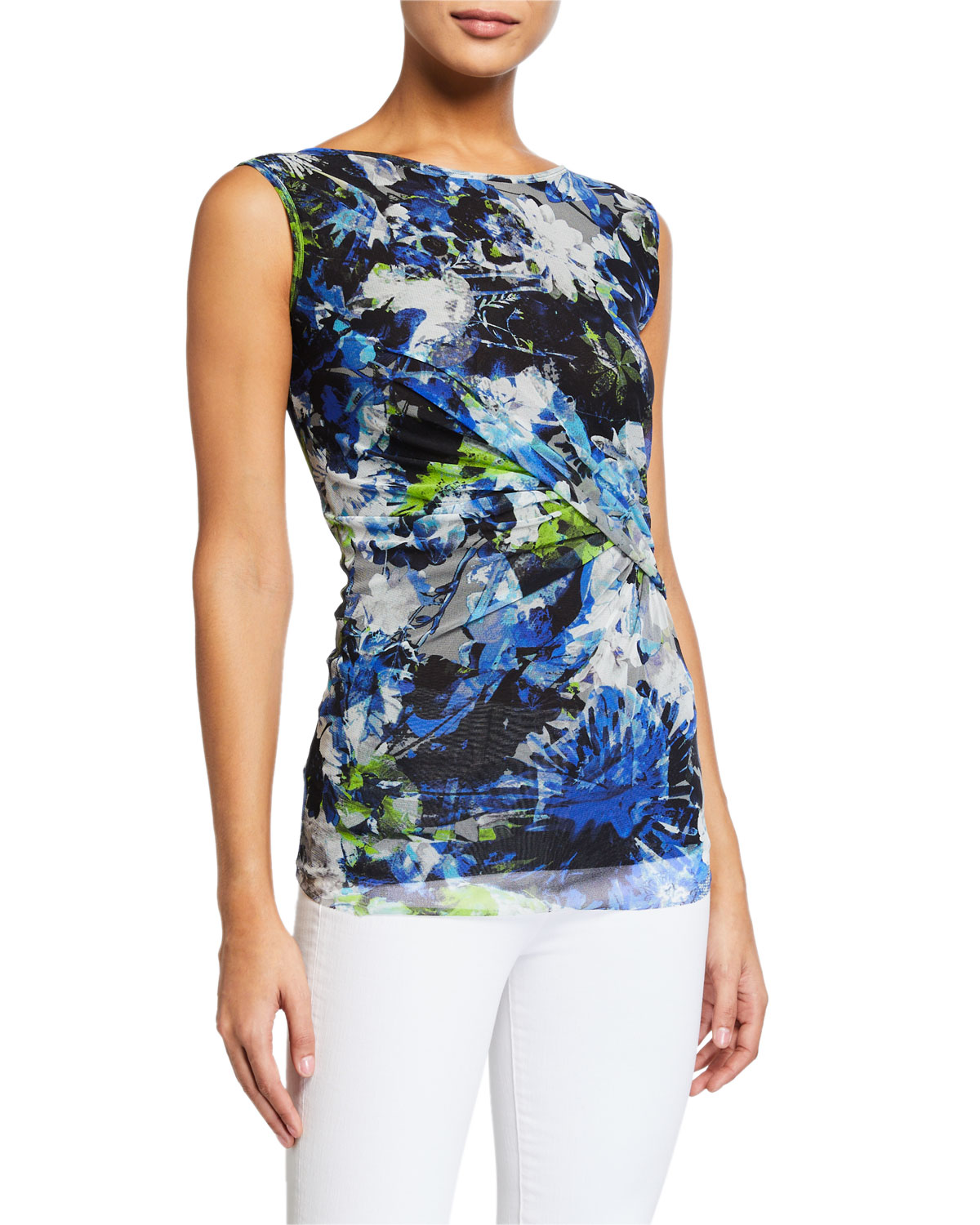 Fuzzi Floral Side Shirred Tank Top