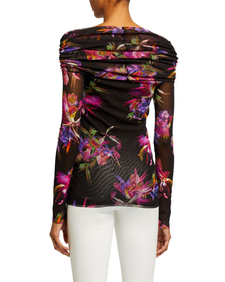 Fuzzi Floral Off-the-Shoulder Long-Sleeve Tulle Mesh Top
