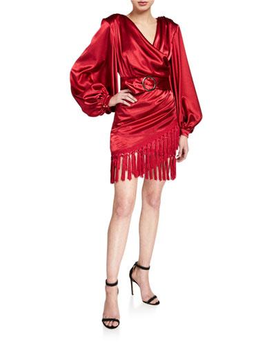 Carmen Belted Long-Sleeve Fringe-Hem Mini Satin Wrap Dress