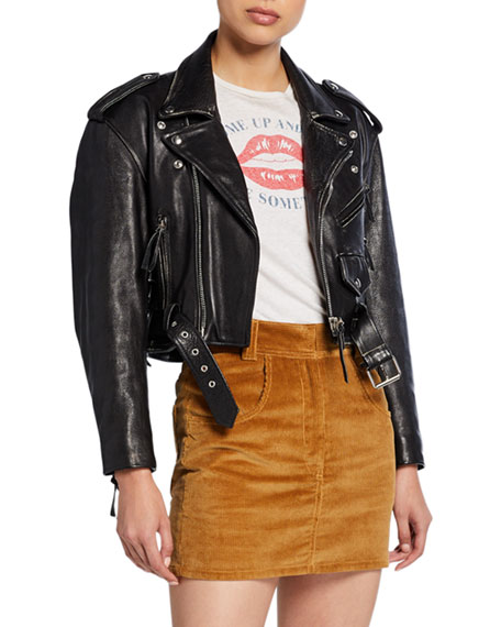 Image 3 of 3: 80s Cropped Leather Moto Jacket