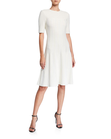 St. John Collection Engineered Lace Jacquard Dress