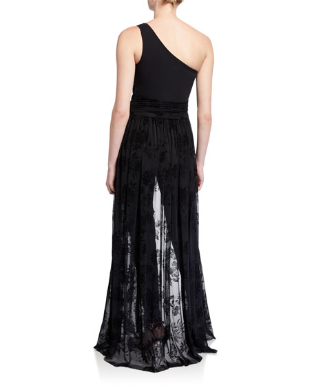Chiara Boni La Petite Robe One-Shoulder Jumpsuit with Velvet Floral Tulle Overskirt