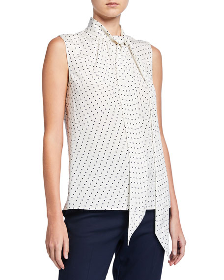 St. John Collection Polka Dot Printed Shell w/ Scarf Neck Tie