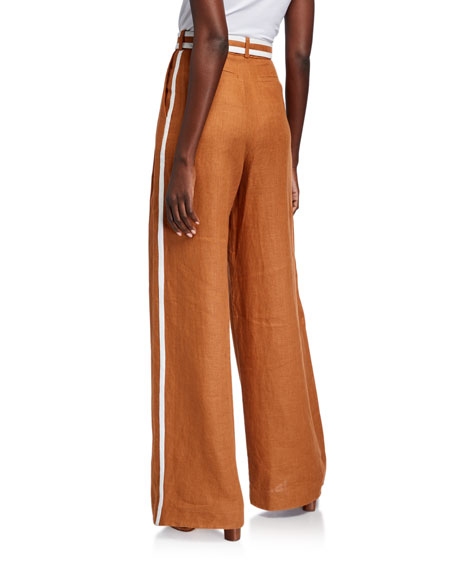 Image 2 of 3: Zimmermann Super Eight Belted Wide-Leg Trousers