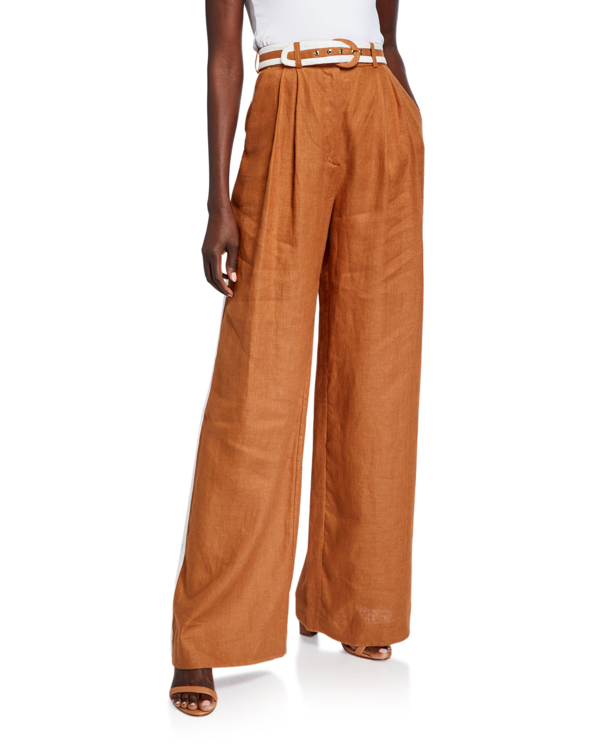 Zimmermann Super Eight Belted Wide-Leg Trousers