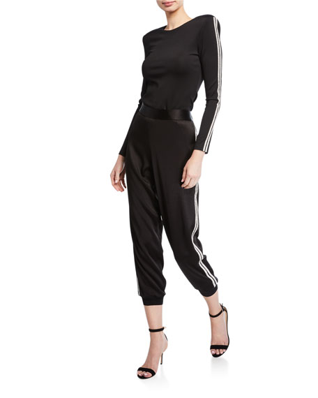 Alice + Olivia Pete Embellished Slouchy Pull-On Pants