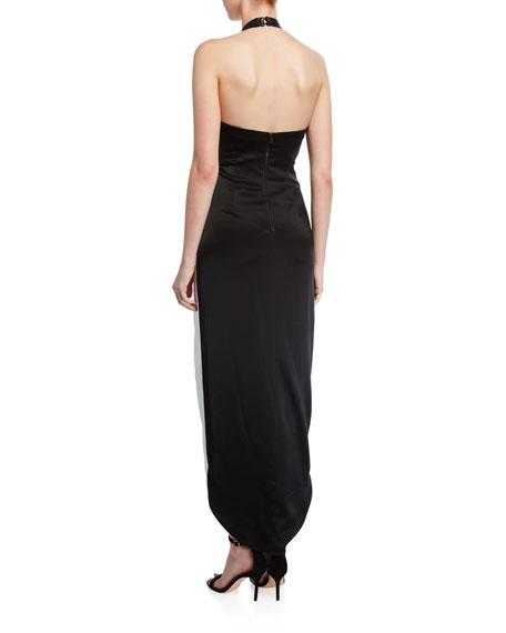 Alice + Olivia Harlow Mock-Neck Slit Dress