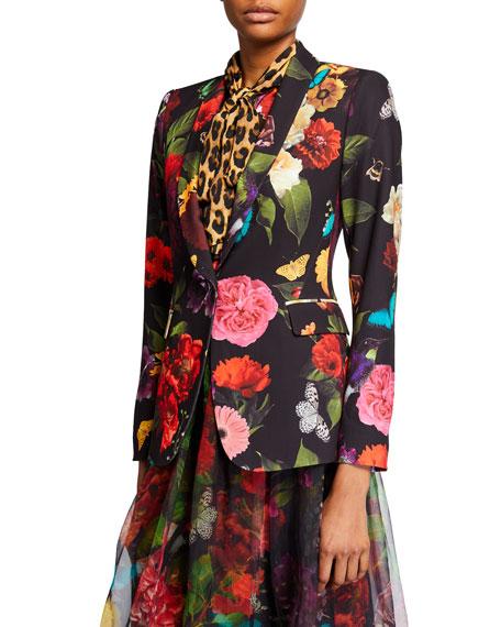 Alice + Olivia Macey Floral Strong Shoulder Shawl-Collar Blazer