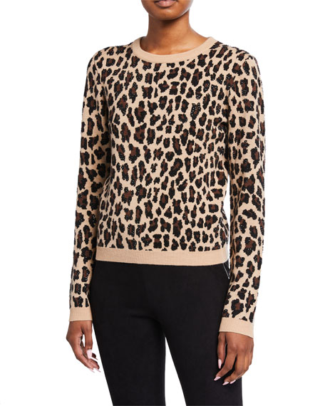 Alice + Olivia Connie Embellished Leopard Sweater