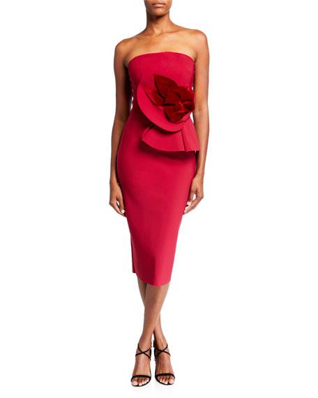 Chiara Boni La Petite Robe Dresses 3D FLORAL STRAPLESS COCKTAIL DRESS