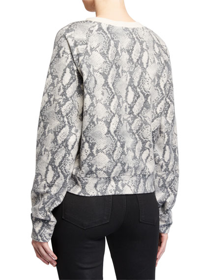 PAIGE Daytona Snake-Print Crewneck Raglan Sweatshirt