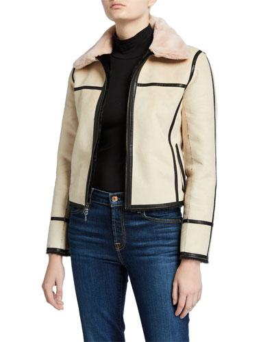 Audrey Reversible Faux Fur-Collar Coat