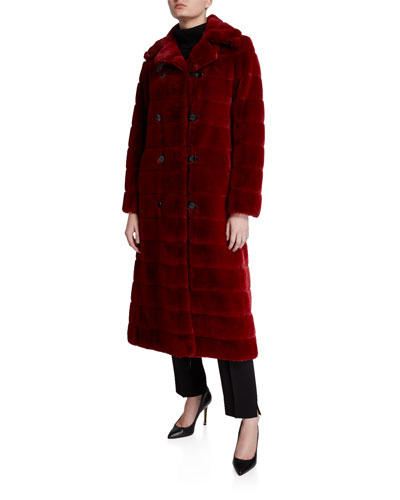 Catherine Faux Fur Double-Breasted Coat