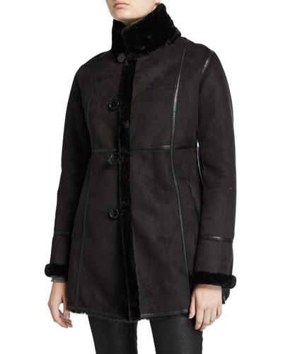 Angelique Button-Up Faux Fur-Trim Coat