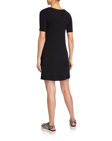 Majestic Filatures Short-Sleeve Crewneck Jersey Shift Dress