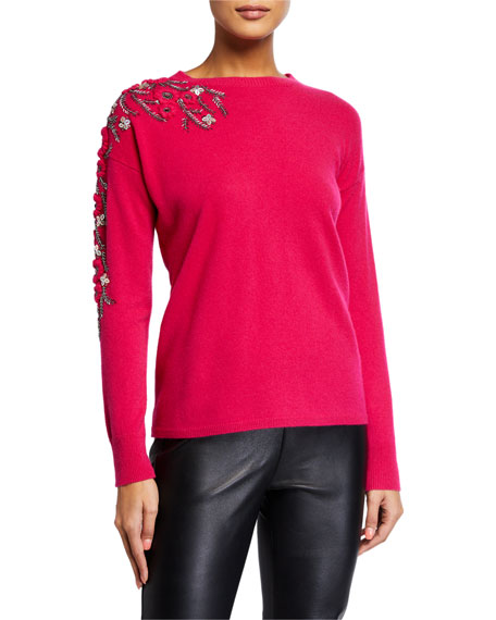 Neiman Marcus Cashmere Collection Floral Embellished Cashmere Crewneck Sweater