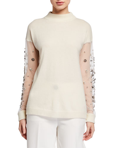Cashmere Mock Neck Embellished Mesh Sleeve Sweater