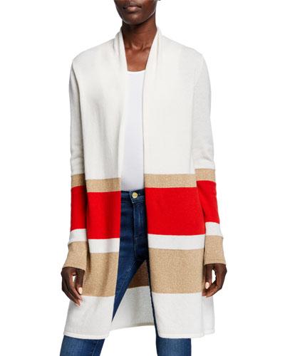 Colorblock Metallic Stripe Long-Sleeve Cashmere Cardigan
