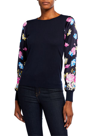 Neiman Marcus Cashmere Collection Floral-Sleeve Crewneck Silk-Blend Sweater