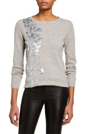 Neiman Marcus Cashmere Collection Cashmere Sweater with Geometric Sequin Details