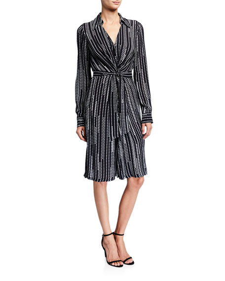 Elie Tahari Saxon Geometric Stripe Long-Sleeve Belted Wrap Dress