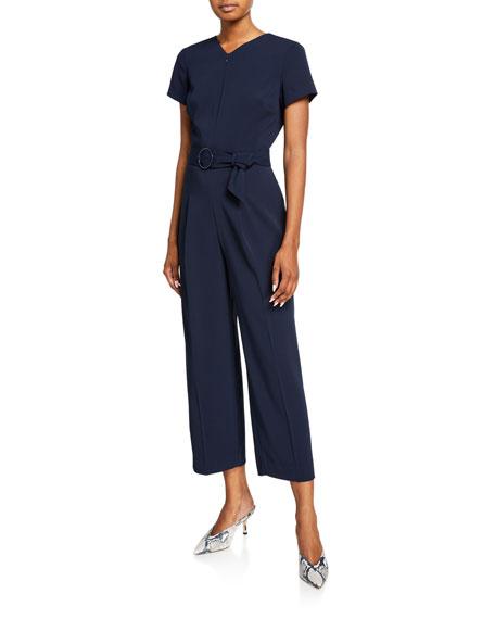 Club Monaco Zip-Front Belted Short-Sleeve Jumpsuit