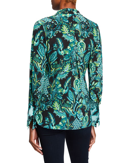 Image 3 of 3: Kobi Halperin Lindy Printed Silk Button-Down Blouse