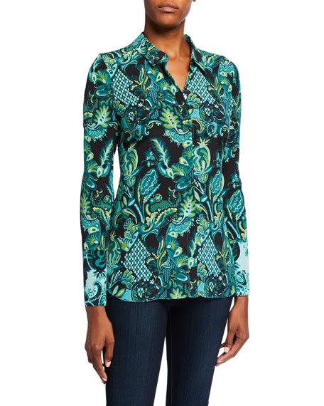 Image 1 of 3: Kobi Halperin Lindy Printed Silk Button-Down Blouse