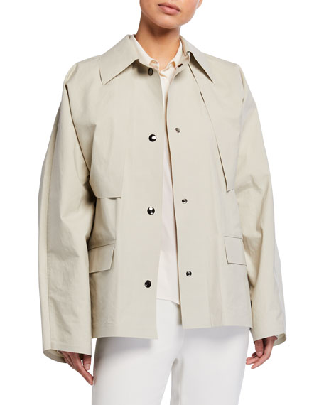Image 3 of 4: Kassl Convertible Cape Trench Jacket