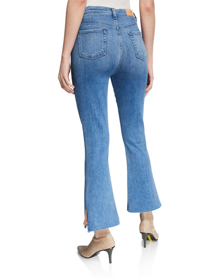 7 For All Mankind High-Waist Slim Kick Jeans w/ Sequins