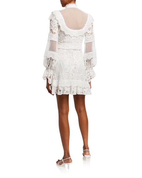 Alexis Shanna High-Neck Lace Short Dress
