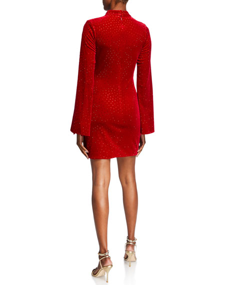 Jovani Bejeweled Turtleneck Split Sleeve Velvet Mini Dress