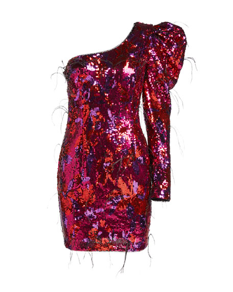 Aidan by Aidan Mattox Ombre Sequin One-Shoulder Mini Dress w/ Feathers
