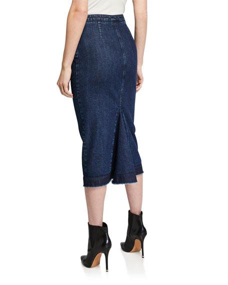 McQ Alexander McQueen Kick Back Denim Godet Skirt