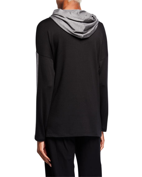 Eileen Fisher Stretch Terry Hooded Box Top