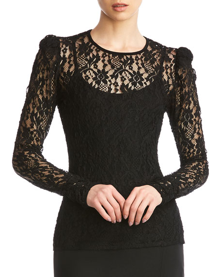 Image 2 of 5: Jenna Lace Long-Sleeve Top w/ Cami